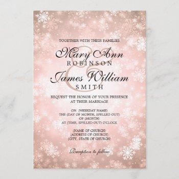 elegant wedding winter wonderland sparkle copper invitation