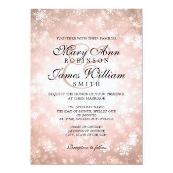elegant wedding winter wonderland sparkle copper invitation