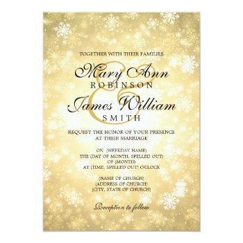 Small Elegant Wedding Winter Wonderland Sparkle Gold Invitation Front View