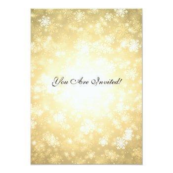 Small Elegant Wedding Winter Wonderland Sparkle Gold Invitation Back View
