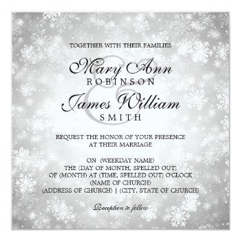 elegant wedding winter wonderland sparkle silver invitation