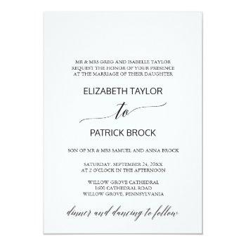 elegant white and black calligraphy formal wedding invitation