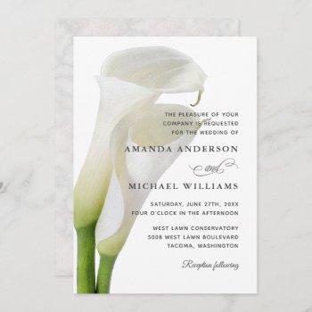 elegant white calla lilies floral wedding invitation