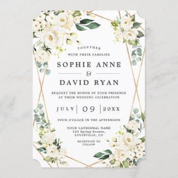 elegant white floral rose gold all in one wedding invitation