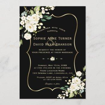 elegant white flowers gold frame black wedding invitation