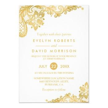 elegant white gold lace pattern formal wedding invitation