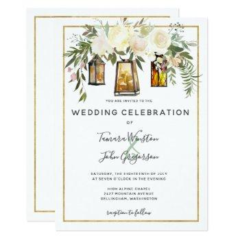 elegant white peonies & rustic gold lanterns invitation