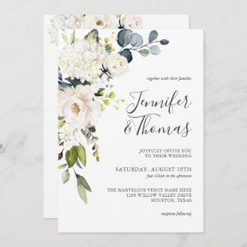 elegant white roses and hydrangeas floral wedding invitation