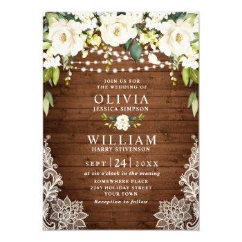 elegant white roses lace rustic wood wedding invitation