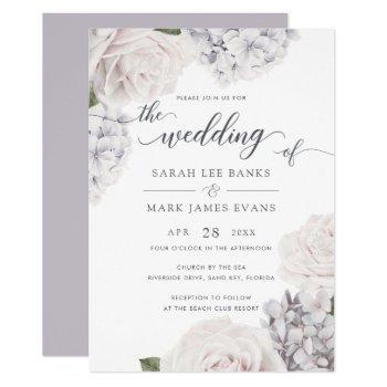 elegant white roses romantic purple hydrangea invitation