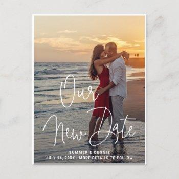 elegant white thin script photo change the date announcement postcard