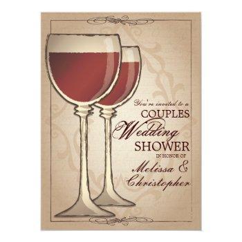 elegant wine themed couples wedding shower invitation