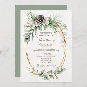 elegant winter christmas watercolor wedding invitation