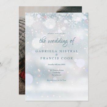 elegant winter wedding photo first snowflakes invitation