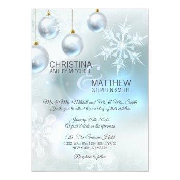 elegant winter wonderland blue snowflakes wedding invitation
