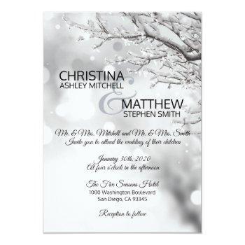 elegant winter wonderland snow snowflakes wedding invitation