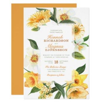 elegant yellow watercolor daisies floral wedding invitation
