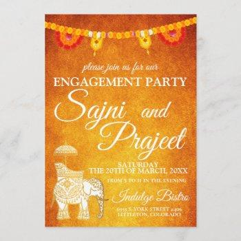 elephant and flowers indian engagement party invitation