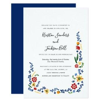 embroidered florals wedding invitations