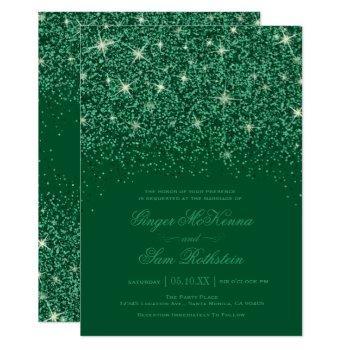 emerald glitter wedding invitations
