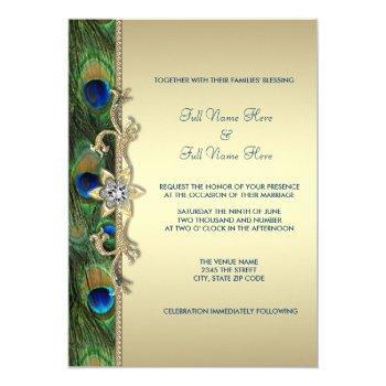 emerald green and gold peacock wedding invitation