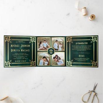 emerald green gold art deco photo collage wedding tri-fold invitation