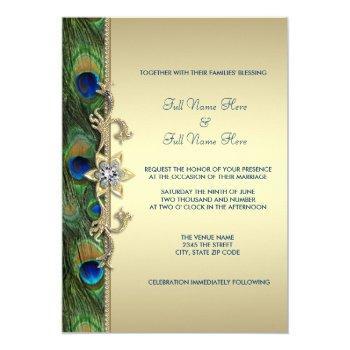 emerald green gold royal indian peacock wedding invitation