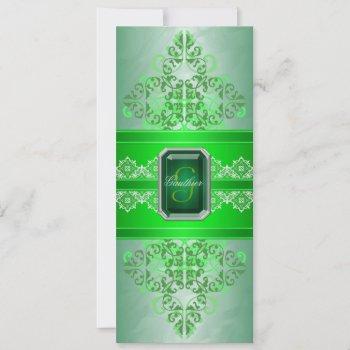 emerald green monogram ribbon wedding invitation