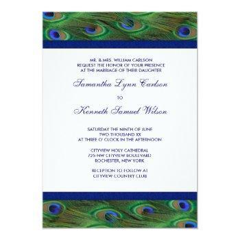 emerald green royal blue peacock feathers wedding invitation