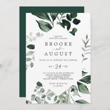 emerald greenery all in one wedding invitation