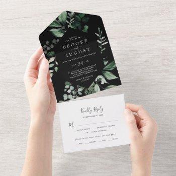 emerald greenery | black wedding all in one invitation