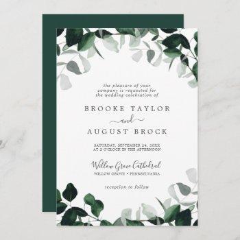 emerald greenery formal wedding invitation