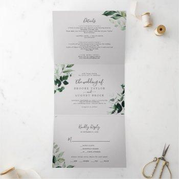 emerald greenery | gray photo wedding all in one tri-fold invitation