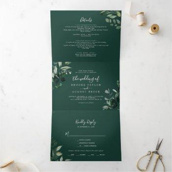 emerald greenery | green photo wedding all in one tri-fold invitation