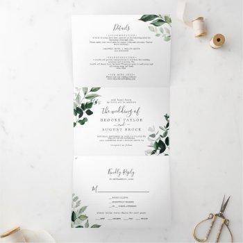 emerald greenery | leaf back wedding all in one tri-fold invitation