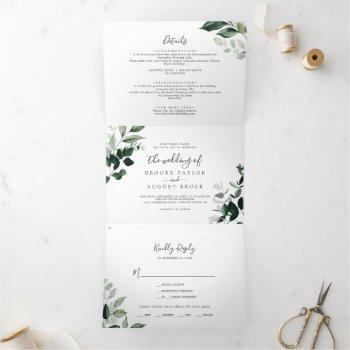 emerald greenery photo wedding all in one tri-fold invitation
