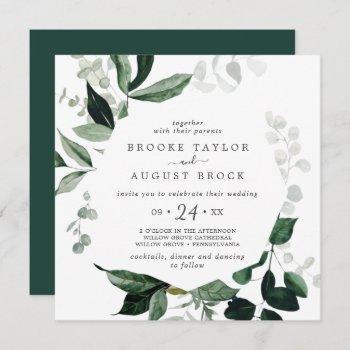 emerald greenery square wedding invitation