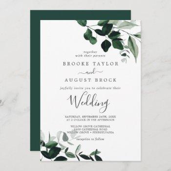 emerald greenery wedding invitation