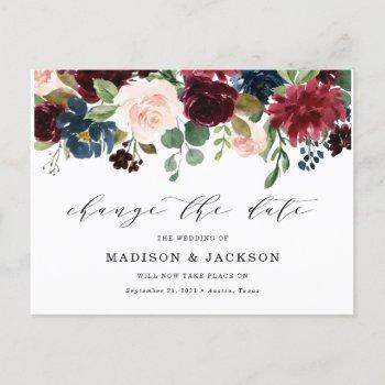 enchanted floral change the date wedding announcement postcard