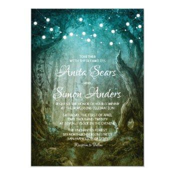 enchanted forest fairy tale wedding invitation