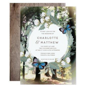 enchanted forest floral butterfly green wedding invitation