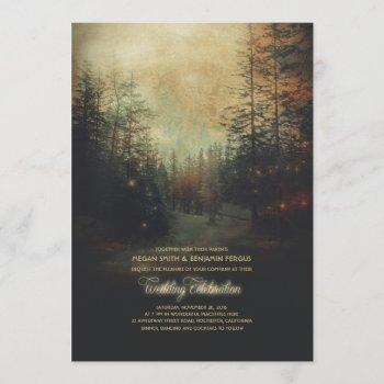 enchanted forest string lights trees wedding invitation