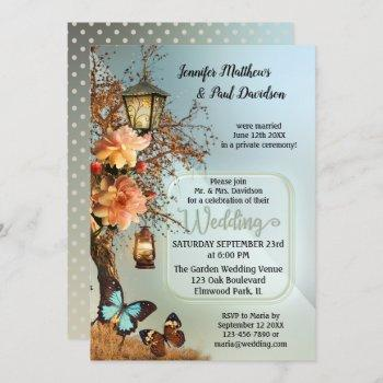 enchanted garden geometric post wedding party invitation