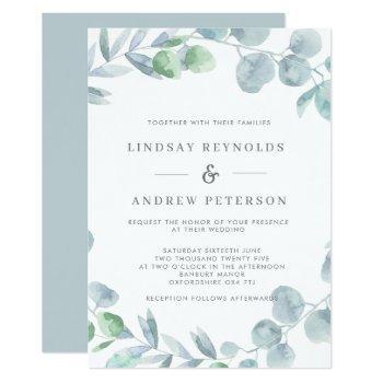 ethereal eucalyptus dusty blue wedding invitation