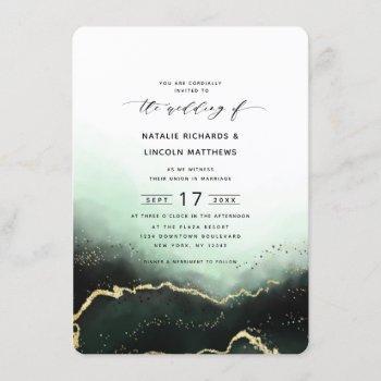 ethereal ombre emerald gold foil script wedding invitation