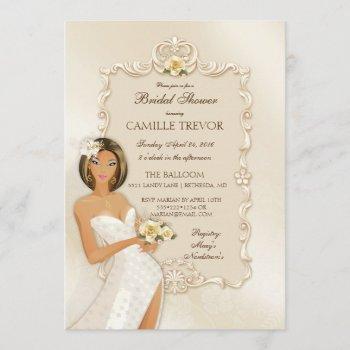 ethnic bride ivory satin wedding rose invitation