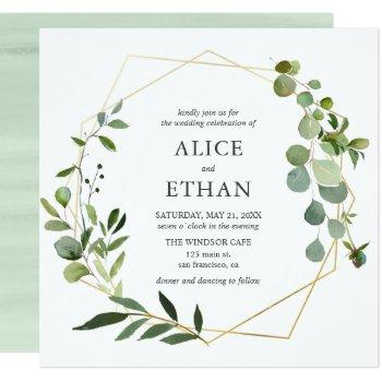 eucalyptus geometric wedding invitation