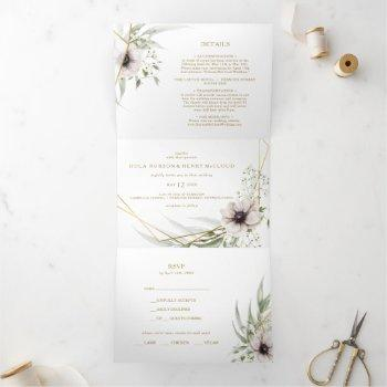 eucalyptus gold geometric wedding all in one tri-fold invitation