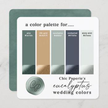 eucalyptus green 2021 wedding color palette card