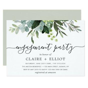 eucalyptus green foliage engagement party invitation